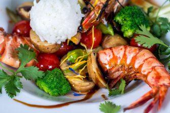 Meeresfrüchte mit Gemüße